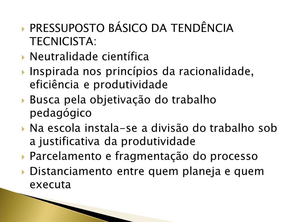 PRESSUPOSTO BÁSICO DA TENDÊNCIA TECNICISTA: