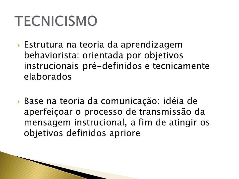 TECNICISMO Estrutura na teoria da aprendizagem behaviorista: orientada por objetivos instrucionais pré-definidos e tecnicamente elaborados.