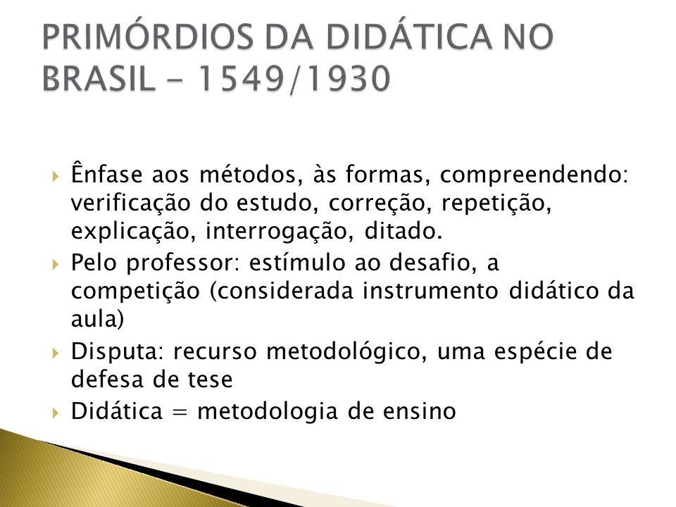 PRIMÓRDIOS DA DIDÁTICA NO BRASIL - 1549/1930