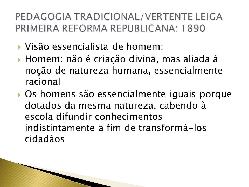 PEDAGOGIA TRADICIONAL/VERTENTE LEIGA PRIMEIRA REFORMA REPUBLICANA: 1890