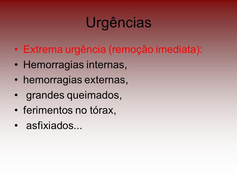 Urgências Extrema urgência (remoção imediata): Hemorragias internas,