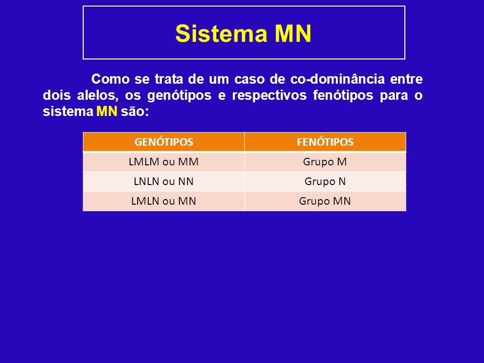 Sistema MN Como se trata de um caso de co-dominância entre dois alelos, os genótipos e respectivos fenótipos para o sistema MN são: