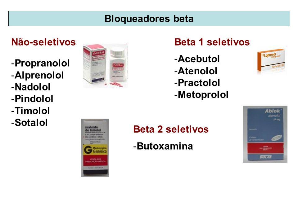 Bloqueadores beta Não-seletivos. Beta 1 seletivos. Acebutol. Atenolol. Practolol. Metoprolol. Propranolol.