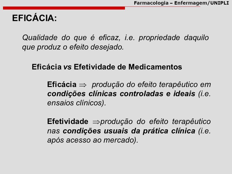 EFICÁCIA: Qualidade do que é eficaz, i.e. propriedade daquilo que produz o efeito desejado. Eficácia vs Efetividade de Medicamentos.