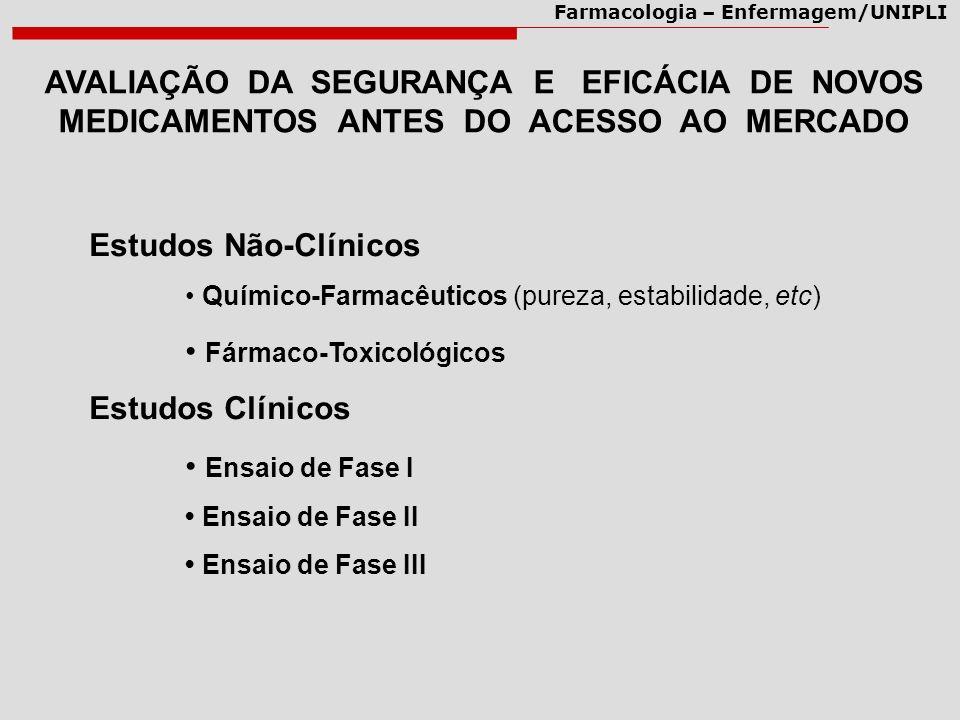 • Fármaco-Toxicológicos Estudos Clínicos • Ensaio de Fase I