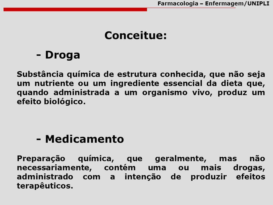 Conceitue: - Droga - Medicamento