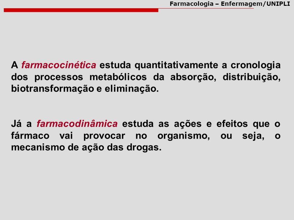 A farmacocinética estuda quantitativamente a cronologia dos processos metabólicos da absorção, distribuição, biotransformação e eliminação.