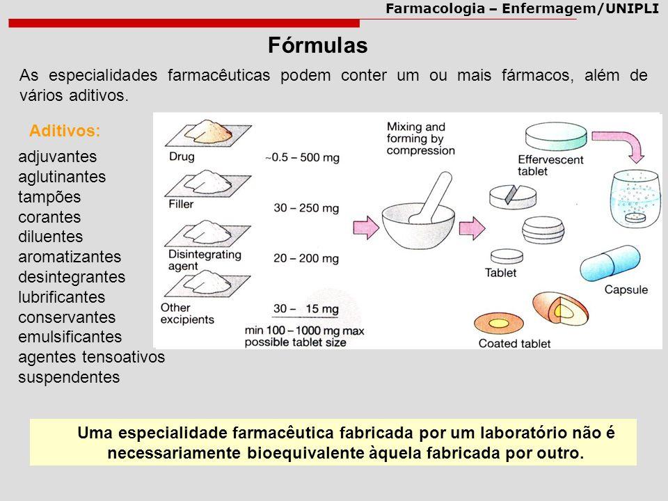 Fórmulas As especialidades farmacêuticas podem conter um ou mais fármacos, além de vários aditivos.