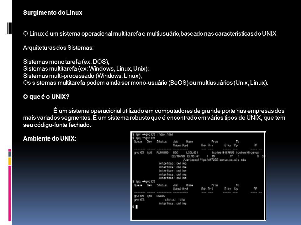 Surgimento do Linux O Linux é um sistema operacional multitarefa e multiusuário,baseado nas características do UNIX.