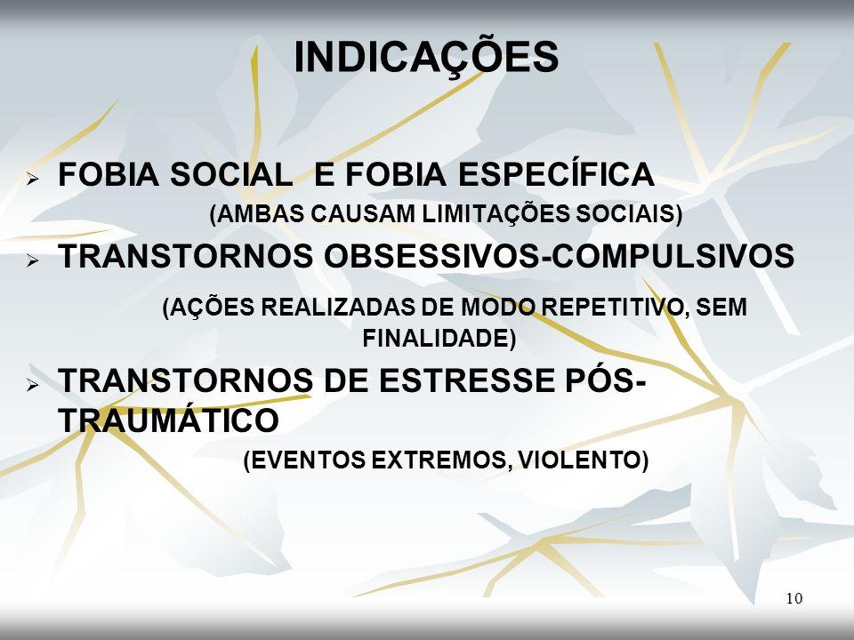 INDICAÇÕES FOBIA SOCIAL E FOBIA ESPECÍFICA