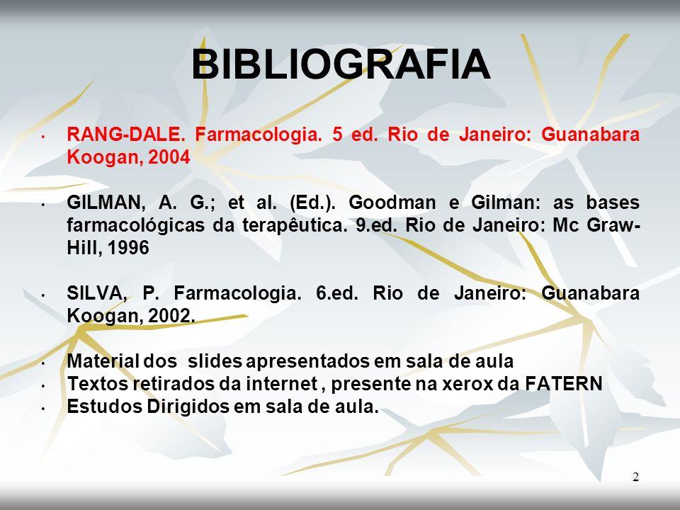 BIBLIOGRAFIARANG-DALE. Farmacologia. 5 ed. Rio de Janeiro: Guanabara Koogan, 2004.