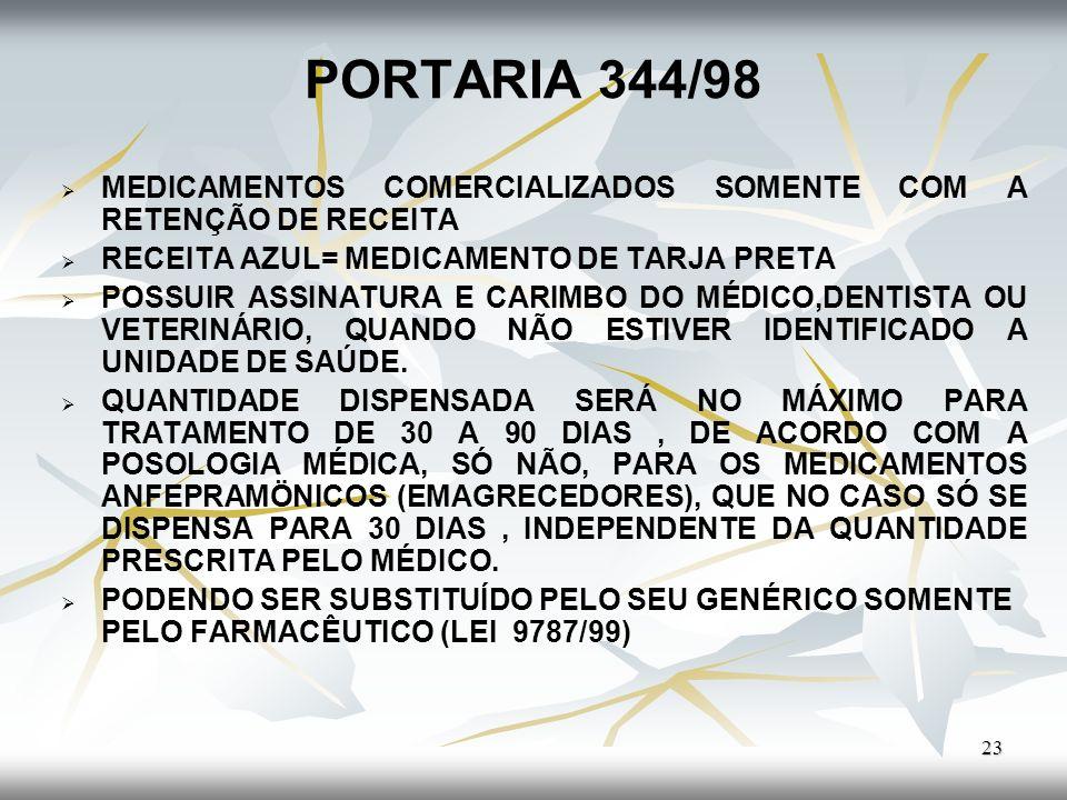 PORTARIA 344/98 MEDICAMENTOS COMERCIALIZADOS SOMENTE COM A RETENÇÃO DE RECEITA. RECEITA AZUL= MEDICAMENTO DE TARJA PRETA.