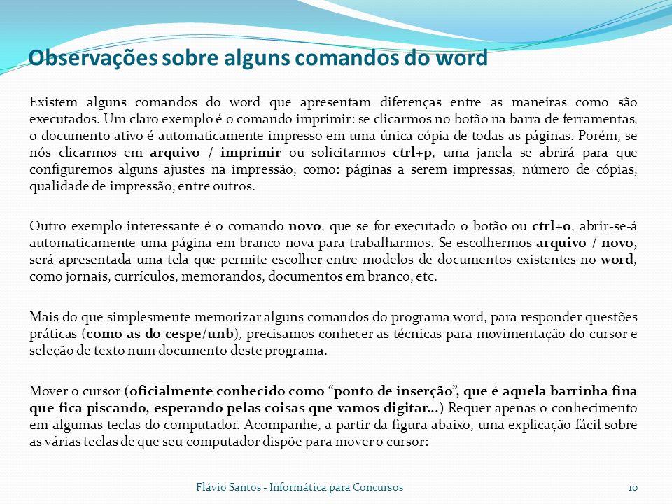 Observações sobre alguns comandos do word
