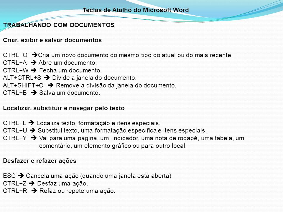 Teclas de Atalho do Microsoft Word