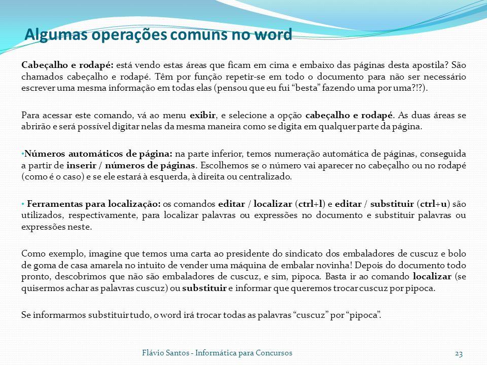 Algumas operações comuns no word
