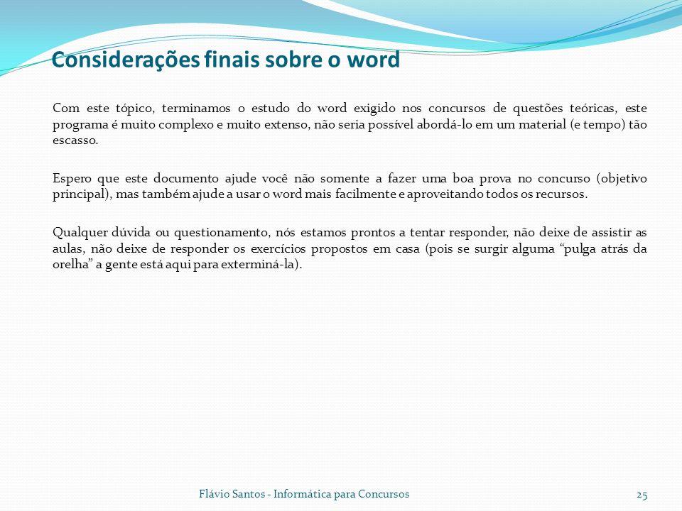 Considerações finais sobre o word