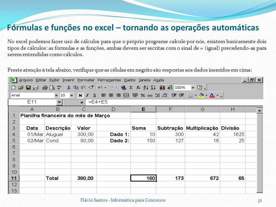 Fórmulas e funções no excel – tornando as operações automáticas
