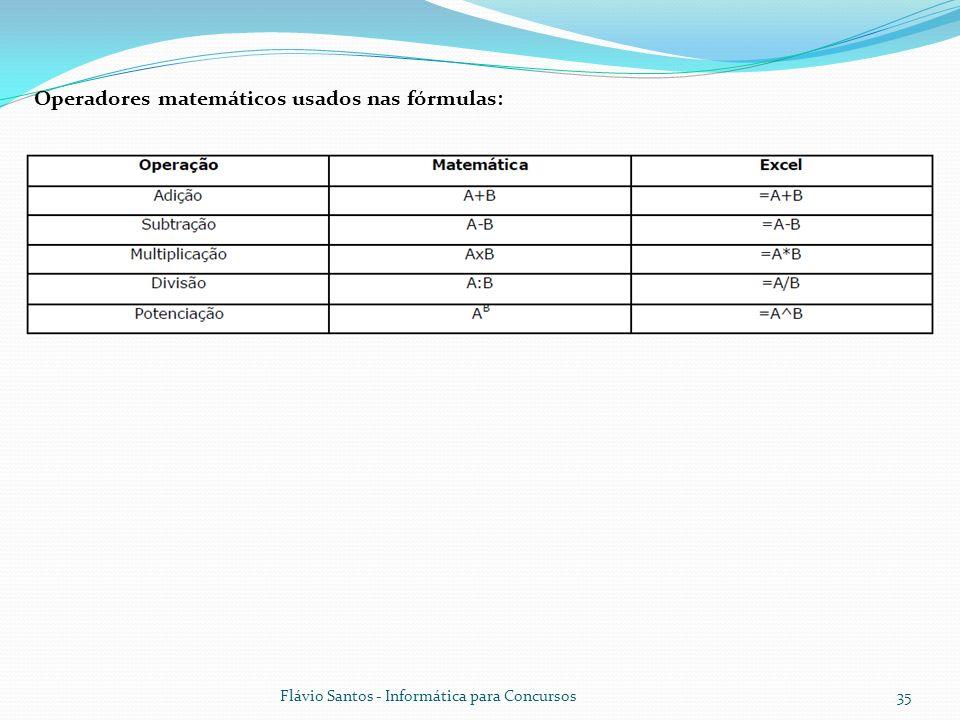 Operadores matemáticos usados nas fórmulas: