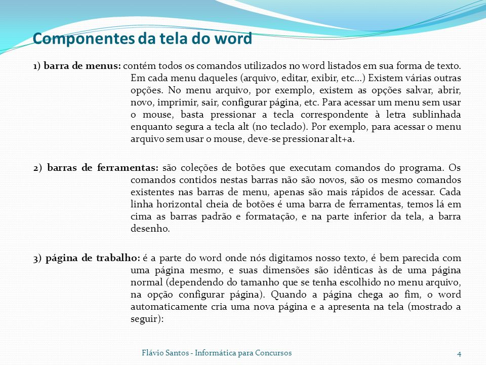 Componentes da tela do word