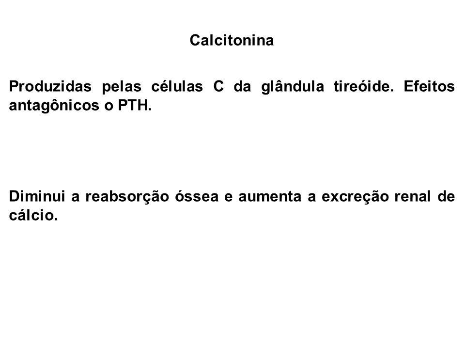 Calcitonina Produzidas pelas células C da glândula tireóide. Efeitos antagônicos o PTH.