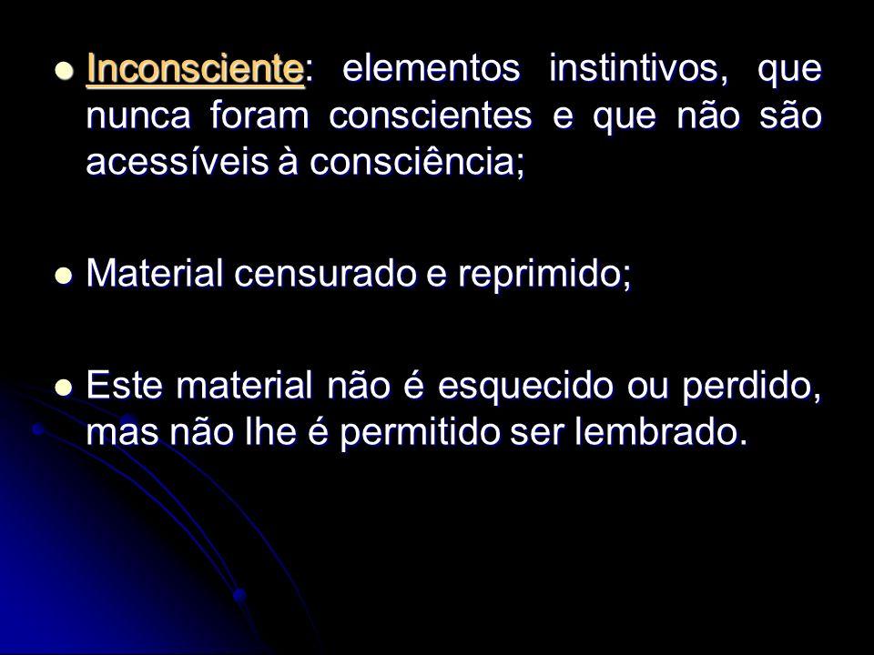 Inconsciente: elementos instintivos, que nunca foram conscientes e que não são acessíveis à consciência;