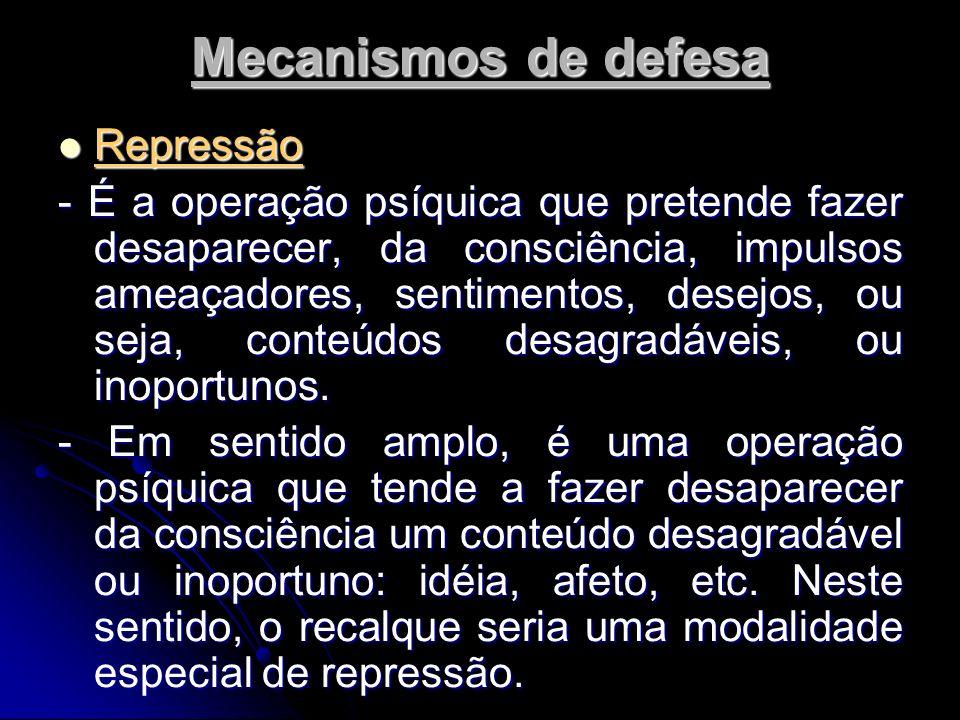 Mecanismos de defesa Repressão