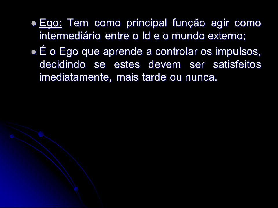 Ego: Tem como principal função agir como intermediário entre o Id e o mundo externo;