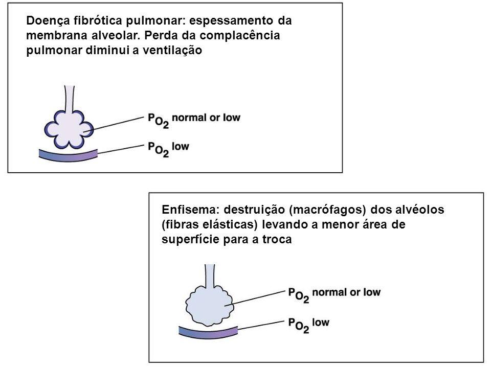 Doença fibrótica pulmonar: espessamento da membrana alveolar