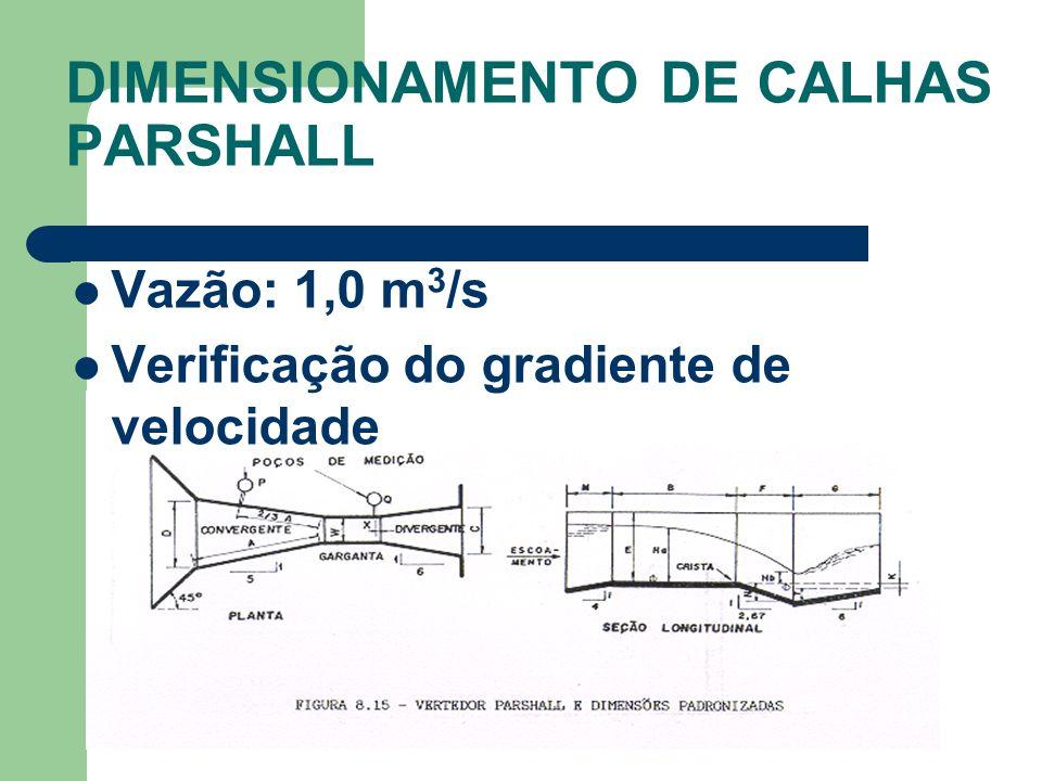 DIMENSIONAMENTO DE CALHAS PARSHALL
