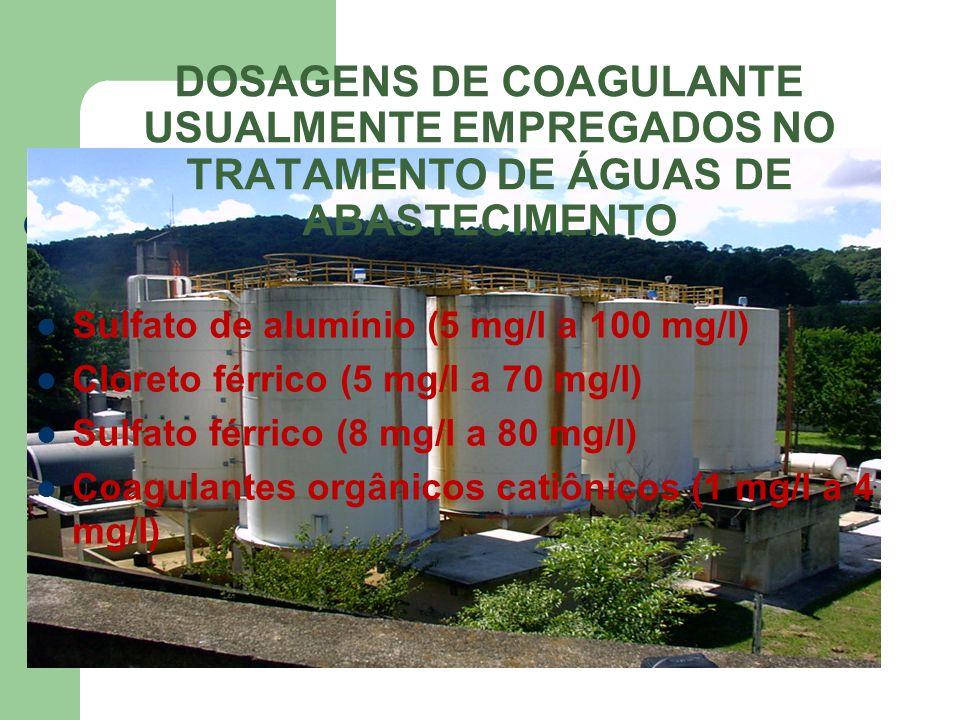 DOSAGENS DE COAGULANTE USUALMENTE EMPREGADOS NO TRATAMENTO DE ÁGUAS DE ABASTECIMENTO