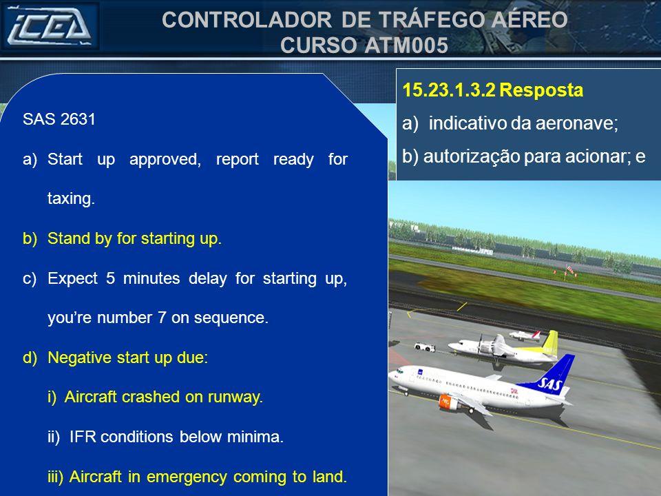 a) indicativo da aeronave; b) autorização para acionar; e