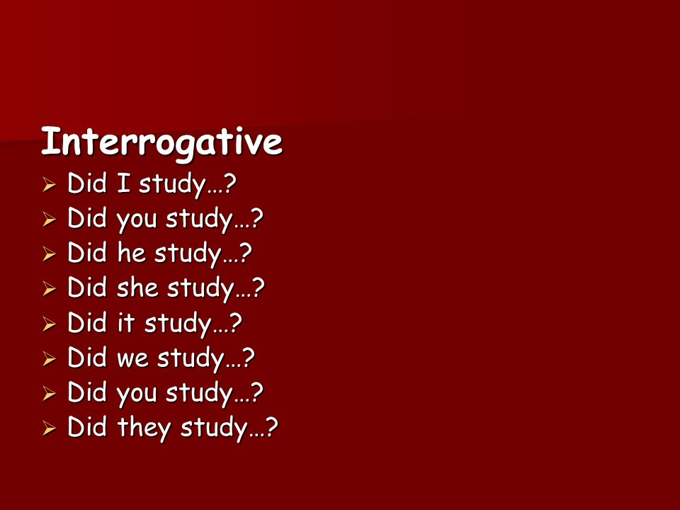 Interrogative Did I study… Did you study… Did he study…