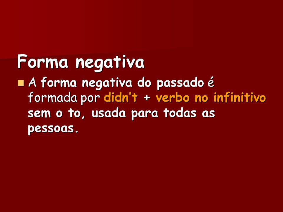 Forma negativaA forma negativa do passado é formada por didn't + verbo no infinitivo sem o to, usada para todas as pessoas.
