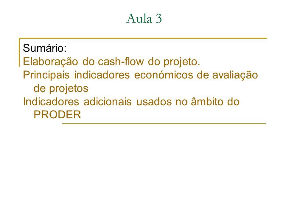 Aula 3 Sumário: Elaboração do cash-flow do projeto.