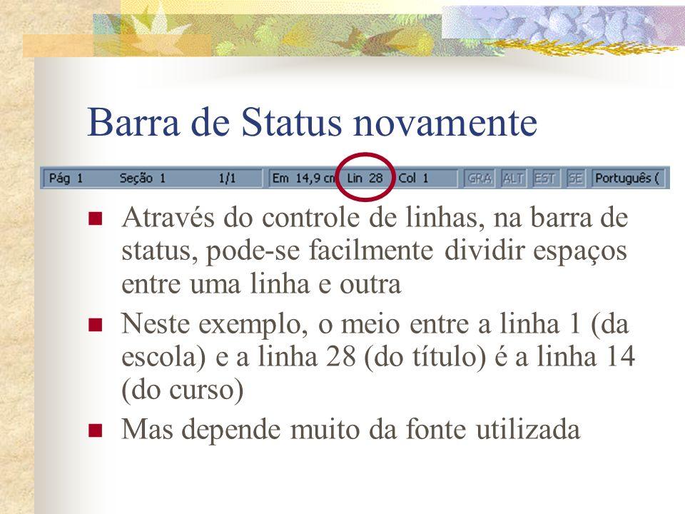 Barra de Status novamente