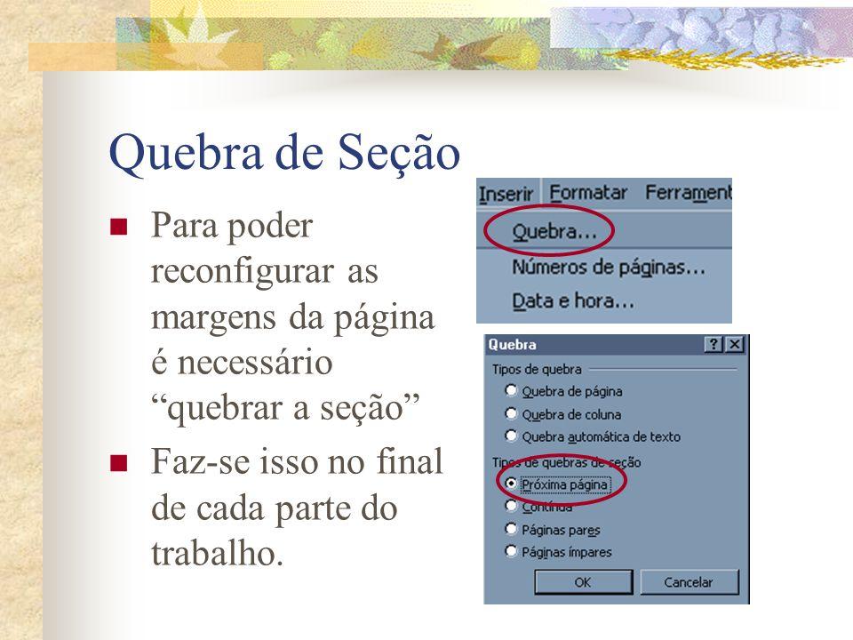 Quebra de Seção Para poder reconfigurar as margens da página é necessário quebrar a seção Faz-se isso no final de cada parte do trabalho.