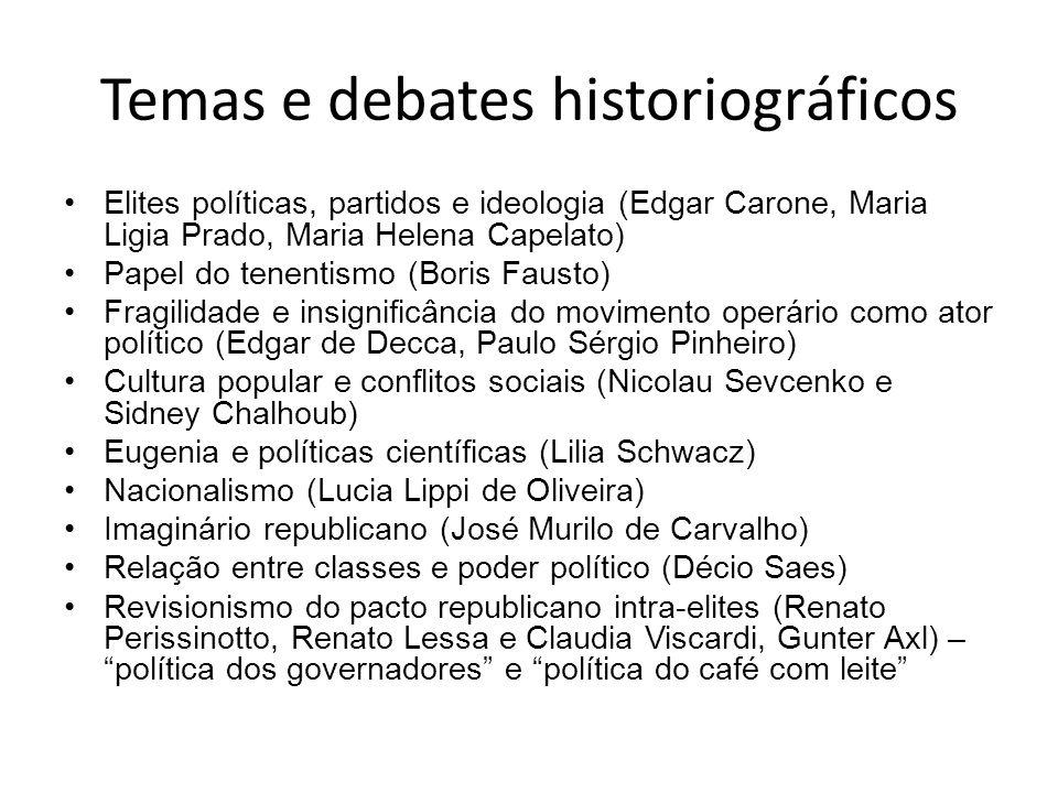 Temas e debates historiográficos