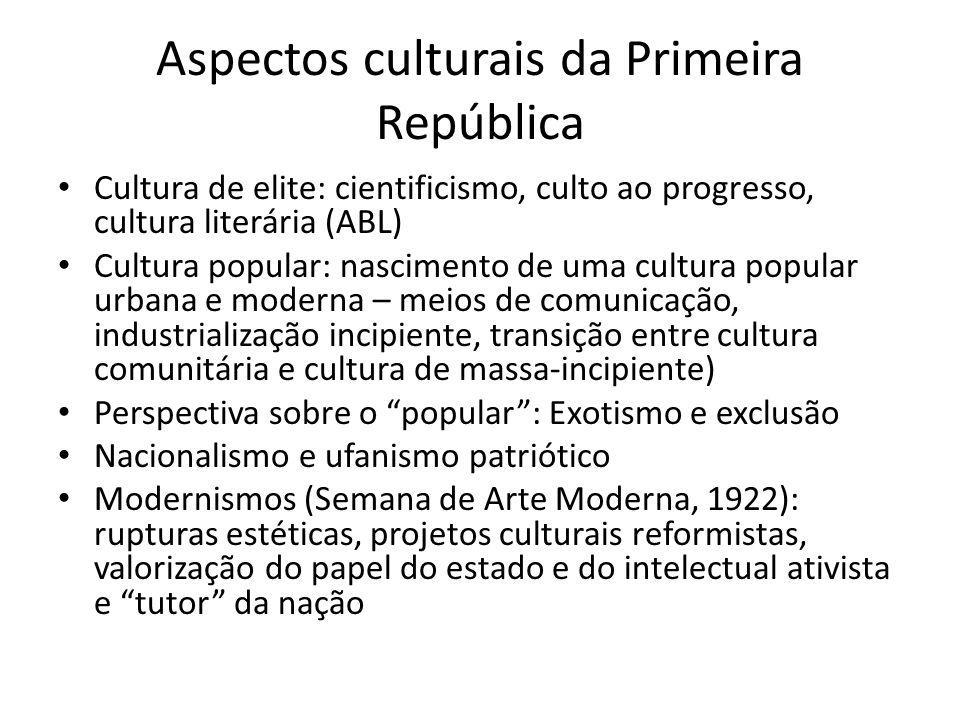 Aspectos culturais da Primeira República