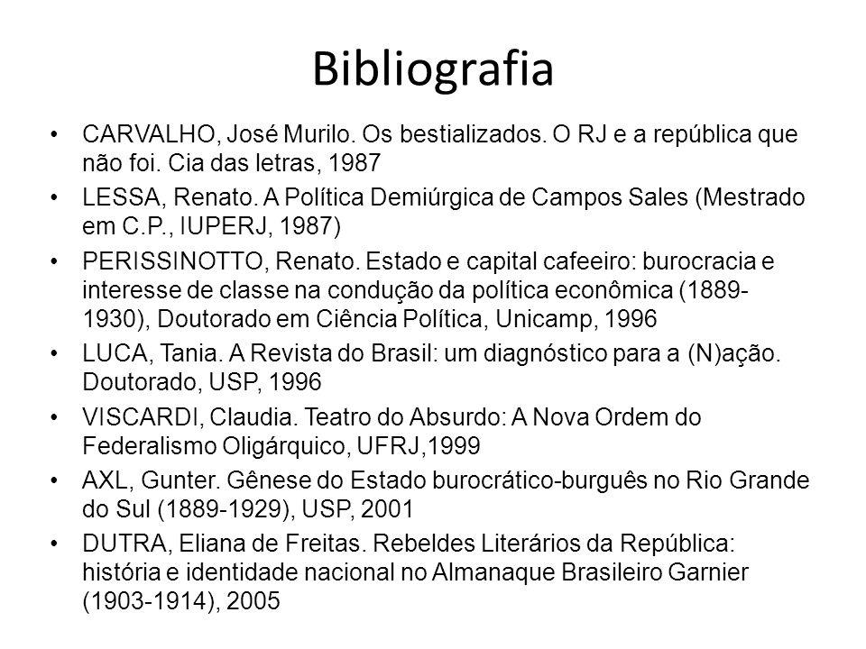 BibliografiaCARVALHO, José Murilo. Os bestializados. O RJ e a república que não foi. Cia das letras, 1987.