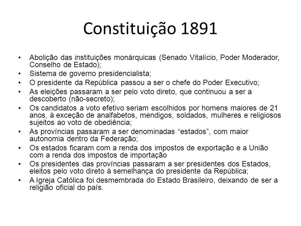Constituição 1891 Abolição das instituições monárquicas (Senado Vitalício, Poder Moderador, Conselho de Estado);