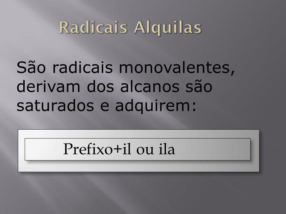Radicais AlquilasSão radicais monovalentes, derivam dos alcanos são saturados e adquirem: Prefixo+il ou ila.