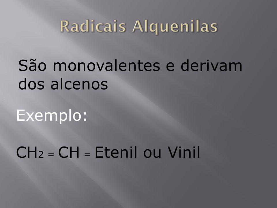 Radicais Alquenilas São monovalentes e derivam dos alcenos Exemplo: