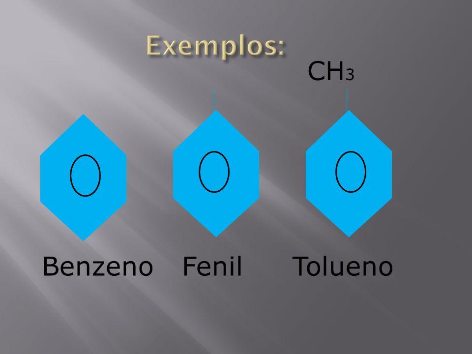 Exemplos: CH3 Benzeno Fenil Tolueno