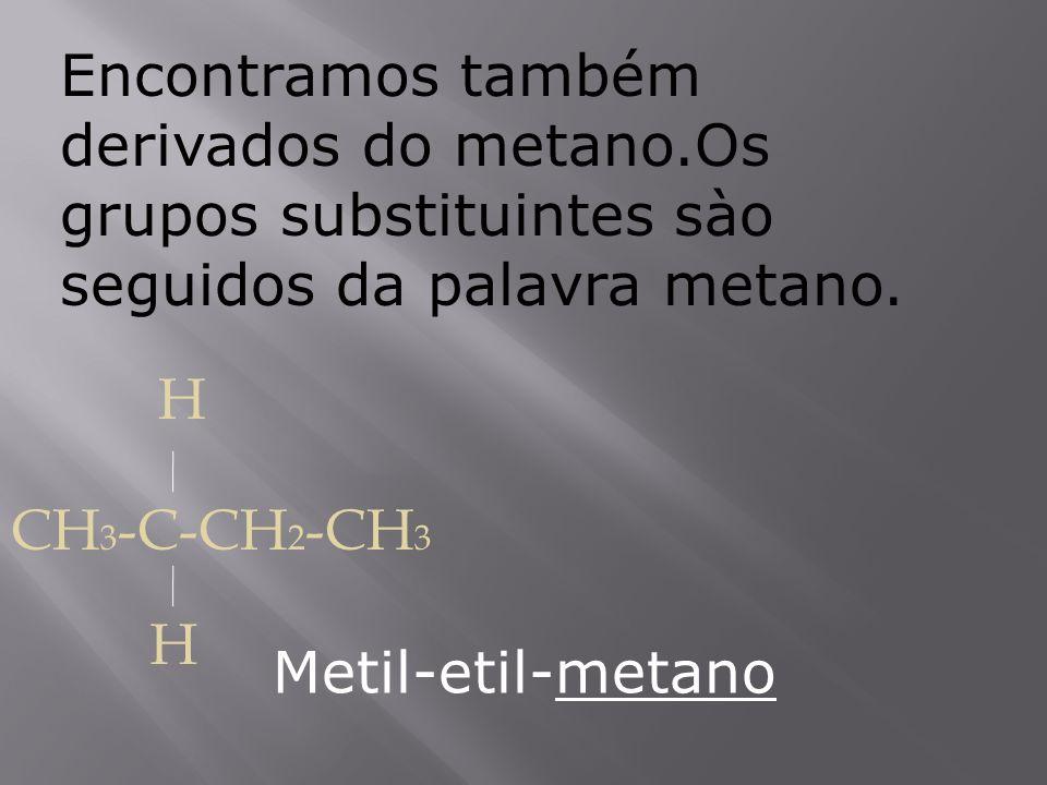 Encontramos também derivados do metano