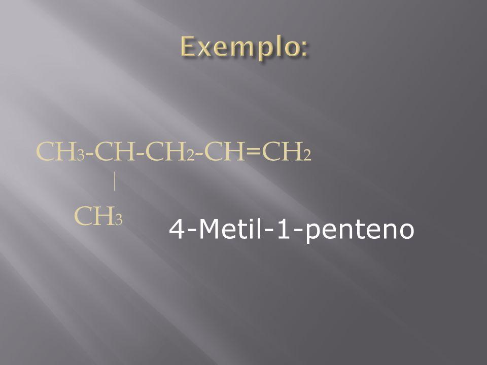 Exemplo: CH3-CH-CH2-CH=CH2 CH3 4-Metil-1-penteno