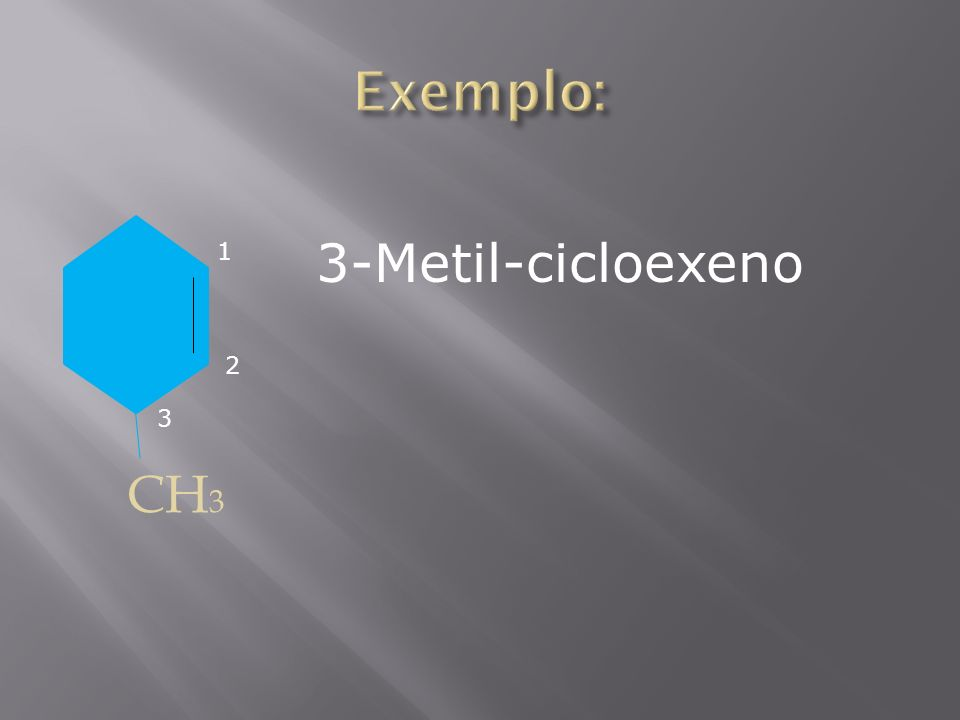 Exemplo: 3-Metil-cicloexeno 1 2 3 CH3