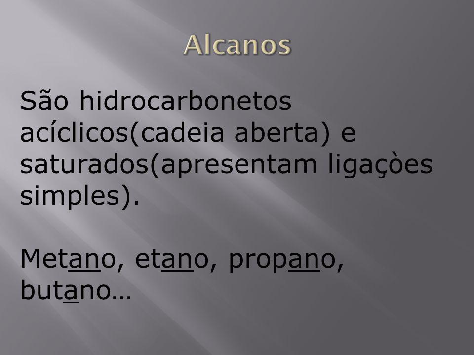 Alcanos São hidrocarbonetos acíclicos(cadeia aberta) e saturados(apresentam ligaçòes simples).