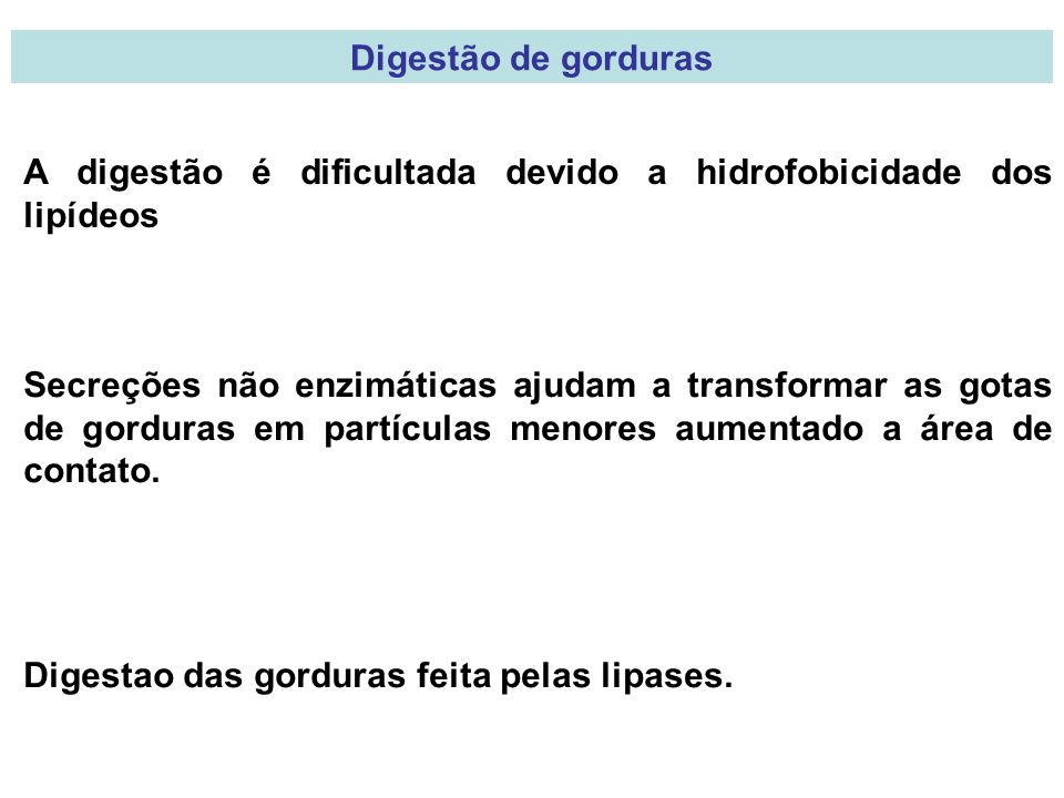 Digestão de gorduras A digestão é dificultada devido a hidrofobicidade dos lipídeos.