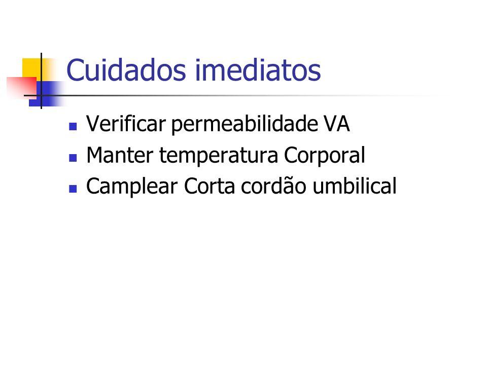 Cuidados imediatos Verificar permeabilidade VA