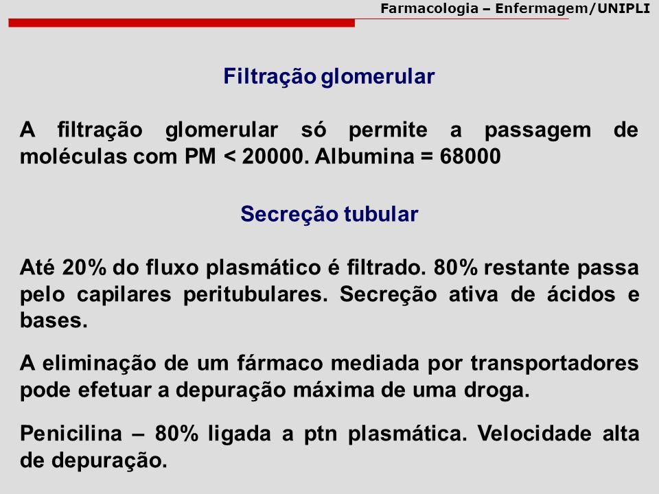 Filtração glomerular A filtração glomerular só permite a passagem de moléculas com PM < 20000. Albumina = 68000.